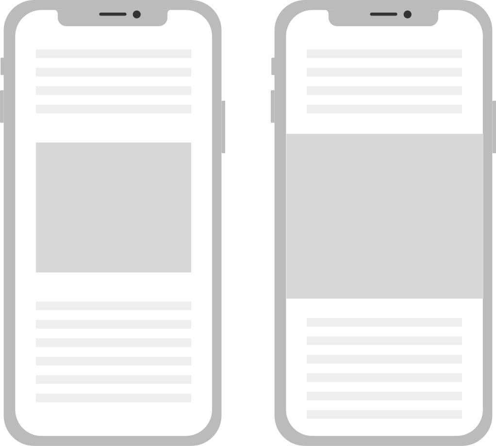 A picture of a responsive ad illustrating how Google will stretch the ad to the edge of the screen on mobile